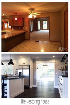 A whole house renovation. A post loaded with before and after pictures. Tons of … A whole house renovation. A post loaded with before and after pictures. Tons of inspiration. Home Staging, Home Improvement Projects, Home Projects, Home Renovation Loan, Mobile Home Renovations, Small House Renovation, Remodeling Mobile Homes, Kitchen Renovations, Before After Home