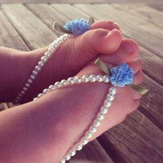 Baby barefoot sandals, baby girl jewelry, baby keepsake, flower girl, baptism, white beaded baby jewelry, baby shoes