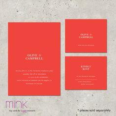 modern wedding invitations Metropolitan par minkcards sur Etsy