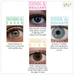 Great pin on eye colours and colour 'seasons'.