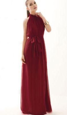 Wine Red Strapless Frill Neckline Belt Chiffon Maxi Dress - Sheinside.com Mobile Site