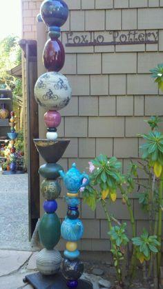 Garden Totems - Foxlo Pottery - Fox & Lois Garney - Cambria, California