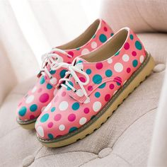 Polka Dots Lace Up Leather Shoes