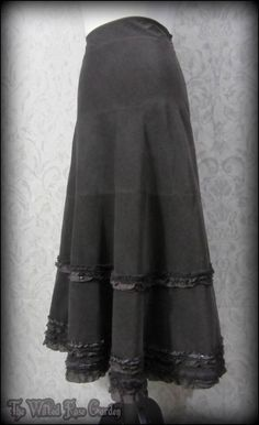 Vintage Victorian Frilly Brown Fine Cordoroy Long Skirt 14 Steampunk Edwardian   THE WILTED ROSE GARDEN