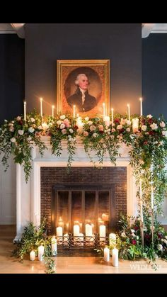 30 Winter Wedding Arches And Altars To Get Inspired: A non-working fireplace decorated with candles, greenery and blush and red roses (Diy Wedding Arch) Wedding Mantle, Winter Wedding Arch, Church Wedding Decorations, Wedding Ceremony, Wedding Arches, Wedding Church, Ceremony Backdrop, Backdrop Ideas, Wedding Fireplace Decorations