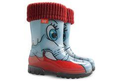 Dziecięce, ocieplane kalosze dla chłopca i dziewczynki firmy Demar. Gumowe, kolorowe obuwie o antypoślizgowych spodach, idealne na deszcz i słotę. Wiosenno jesienne gumowce.