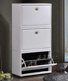 Look at this White Three-Tier Upholstered Shoe Cabinet on #zulily today!