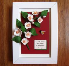 Quilled branch and bumblebee (on a 12x17 cm frame)