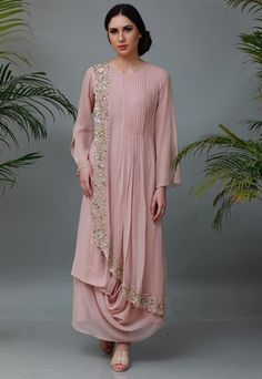 Best 11 Crepe collared drape kurti tunic with handwork motiff Drape Gowns, Draped Dress, Indian Gowns Dresses, Pakistani Dresses, Indian Designer Outfits, Designer Dresses, Party Wear Dresses, Dress Outfits, Stylish Dresses