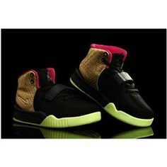 http://www.asneakers4u.com/ Nike Air Yeezy 2 Kids Shoes Black/Gold Custom by PMK