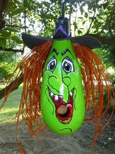 Witch Wicked Cute Gourd Birdhouse or by DesignsbySugarbear on Etsy, $57.99 Love her Haggled Smile! the Top of Her Hat is the Actual Gourd! available on ETSY by Designs by Sugarbear