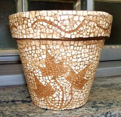 egg shell tone-on-tone mosaic pattern on flower pot