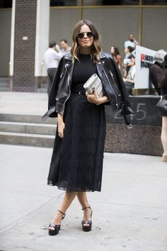35 Winter Outfit Ideas: Glamour.com leather jacket + little black dress + heeled sandals