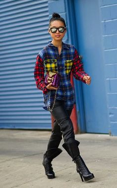 Margaret Zhang pulls out her Equipment plaid for New York Fashion Week's SS14 season. #fashionweek #streetstyle
