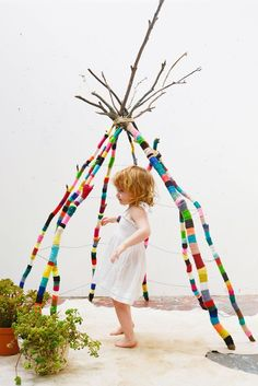 A fabulous yarn bomb tee pee by our Bloesem class teacher Natalie Miller! Winged hat - great for little girl's superhero costume.. Halloween idea