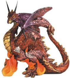 Red and Gold Dragon Standing on Orange Flames Fantasy Figurine: Amazon.ca: Maison et Cuisine