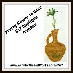 "Download freebee design ""Pretty Flower In A Vase"" a 5x7 applique design. Applique Designs, Embroidery Designs, Nancy Smith, Cute Owl, Forest Animals, Pretty Flowers, Free Design, Vase, Woodland Animals"