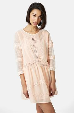 crochet trim chiffon dress / topshop