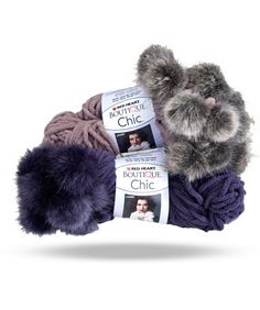 Chenille yarn with fun accents of faux fur that pop up as you knit or crochet. One ball makes a very chic scarf!    Easy and knits up quick. Pattern inside wrapper.