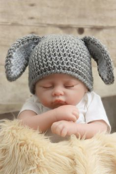 Floppy Eared Baby Bunny hat 0-3 months by mkbabycrochet on Etsy