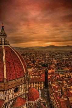 The Duomo  Florence, province of Florence , Tuscany region, Italy , at sunset