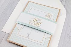 Art Deco Mint and Gold Wedding Invitation - White Gold and Mint Wedding Invitation