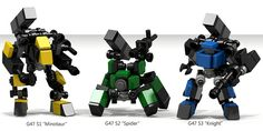 """""""OMF-G47 Chimera"""" - 3x 4p-scale frames by Ethan Duty, built with the same set of parts / brick inventory."""