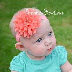 baby headband peach
