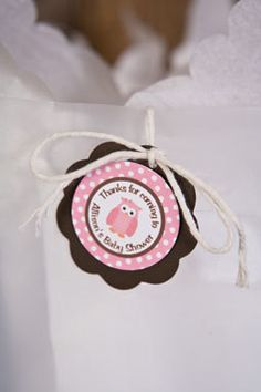 Owl Favor Tags Baby Shower - Pink & Brown