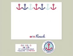 Nautical! Love.  #erincondren note cards -anchors away