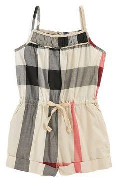 Burberry Check Print Romper (Toddler Girls, Little Girls & Big Girls) available at #Nordstrom