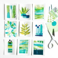 sunday sketchbook studies - blues and greens all cut up