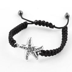 Silver Starfish Bracelet Shamballa Woven Rope Adjustable Black Nautical USSeller #Shamballa