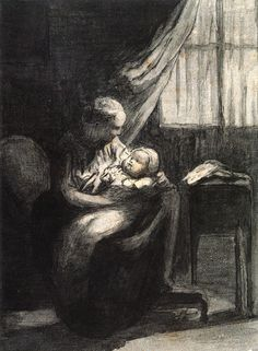 A Young Mother  Honore Daumier - circa 1863  Private collection  Drawing - pen and ink  Height: 17.2 cm (6.77 in.), Width: 12.7 cm (5 in.)  Image via The Athenaeum