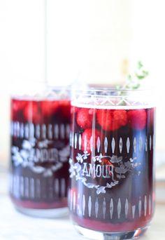 Raspberry Thyme Sangria w. Cabernet Sauvignon + Lemon Lime Soda | @Anthropologie glasses | Wedding Cocktail Hour Recipes | Luci's Morsels :: LA Food + Lifestyle Blog