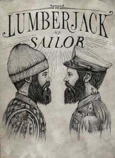 Lumberjack vs Sailor on Behance - Never mind the beard fetishism. Thin lettering!