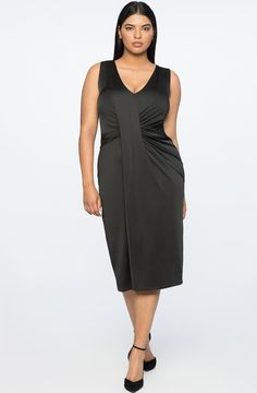 Black Plus Size Midi Dress Women- This flawless fitting drape front black dress with a midi length hemline  and fits plus sizes. This is a nice little black dress for women wanting a longer style dress. A5