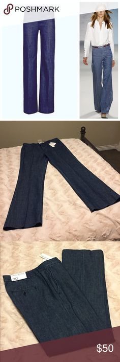Banana Republic Wide Leg Trouser Jeans These are amazing Wide Leg denim trousers! They are made by Banana Republic, and are brand new with tags! These are a size 30 and retail for $98! I love these, they have such a great fit to them and very flattering on! These are long with an inseam of 33.5 inches long and so on trend! Fantastic pair of trouser jeans! Banana Republic Jeans Flare & Wide Leg