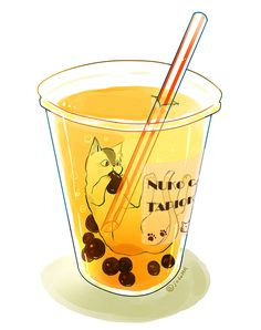 cat in a bubble tea