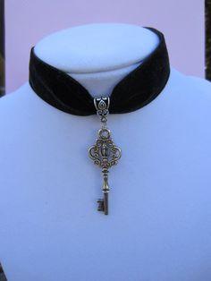 Black Velvet Ribbon Key Choker by kittygatotreats on Etsy, $15.00