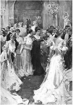 Mrs. Astor and the 400.  This is an artists depiction of Mrs. Astor holding court in her Fifth Avenue Mansion at one of her balls.