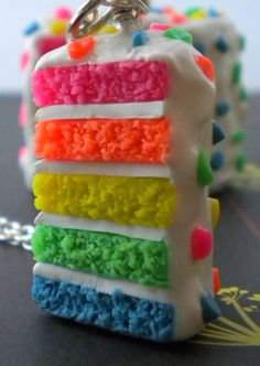 Looks a bit toxic :') but it's pretty cool - Rainbow Cake Necklace Neon Cake Confetti by ElvenStarClayworks