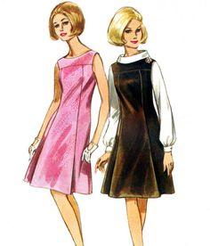 1960s Dress Pattern Butterick 4109 Mod Princess Seam Pinafore Dress Jumper Blouse Womens Vintage Sewing Pattern Bust 38 Uncut