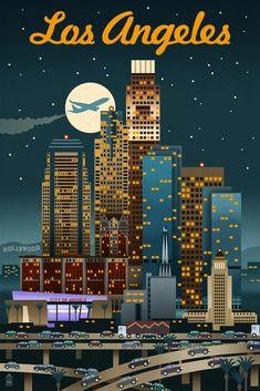 Art Print: Los Angeles, California - Retro Skyline by Lantern Press : Ps Wallpaper, Los Angeles Travel, Skyline Art, City Of Angels, Vintage Travel Posters, Vintage Ski, Photo Wall Collage, Poster Prints, Art Prints