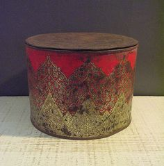 Gorgeous Shalimar Biscuit Tin from India Red with Ornate Design circa 1920s Primitive Patina