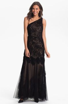Adrianna Papell One Shoulder Tulle Mermaid Gown available at #Nordstrom