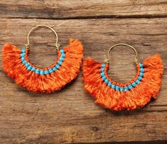 Mango tango funky fluff cotton earrings with by cafeandshiraz