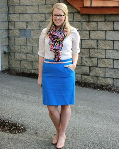 cobalt skirt, cream top, purply floral scarf
