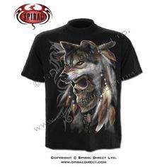 T-shirt homme avec squelette indien esprit du loup - noir Gothic Metal, T Shirt, My Style, Mens Tops, Spirit, Clothes, Stone, Black, Wolf Spirit
