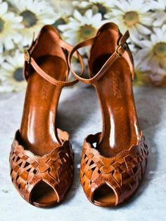 I'm wary of ankle straps, but I really like the cut out style of these pumps.I'm wary of ankle straps, but I really like the cut out style of these pumps. Leather Wedge Sandals, Brown Sandals, Heeled Sandals, Leather Heels, Brown Leather Wedges, Sandal Heels, Gladiator Sandals, Black Suede, Black Shoes